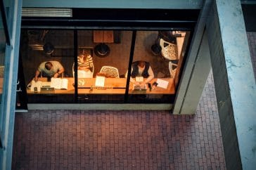 people working flexibly from coffee shop